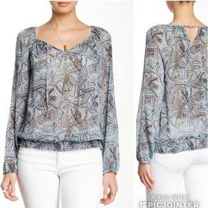 Lucky Brand Sheer Smocked Print Shirt Top Blue XL